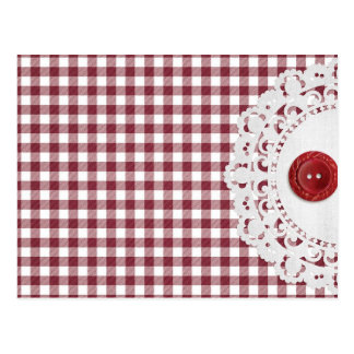 JC26 RED WHITE CHECKERED COUNTRY PATTERN SQUARES D POSTCARD