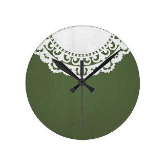 JC8 DARK FOREST GREEN WHITE DECORATIVE DOILY BACKG ROUND CLOCKS