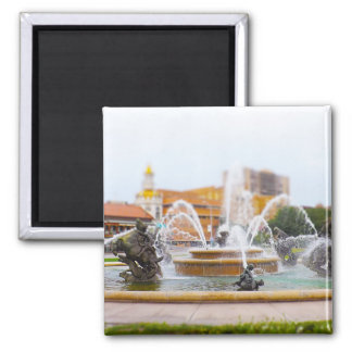 JC Nichols Fountain Country Club Plaza KC 2 Inch Square Magnet