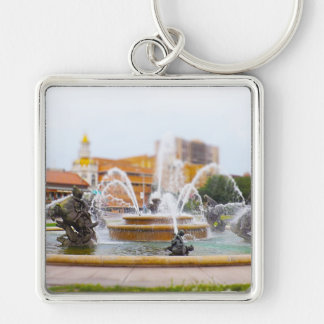 JC Nichols Fountain Country Club Plaza KC Silver-Colored Square Keychain