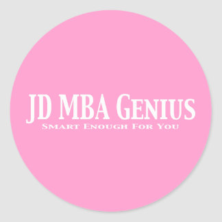 JD MBA Genius Gifts Classic Round Sticker