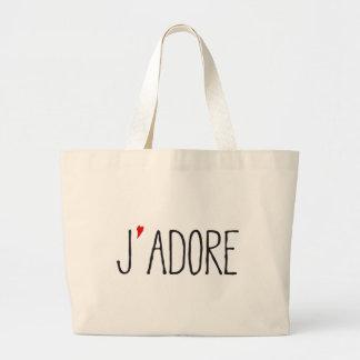 Je adora, arte francés de la palabra con el corazó bolsa tela grande