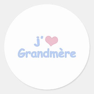 "Je ""coeur"" Grandmère Etiquetas Redondas"