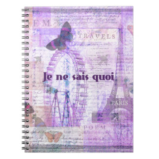 Je ne sais quoi  French Phrase - Paris Theme art Notebook