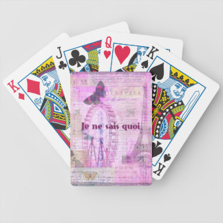 Je ne sais quoi  - French Phrase - Paris Theme art Bicycle Playing Cards