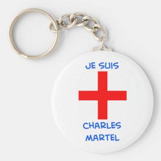 je suis charles martel crusader cross basic round button keychain