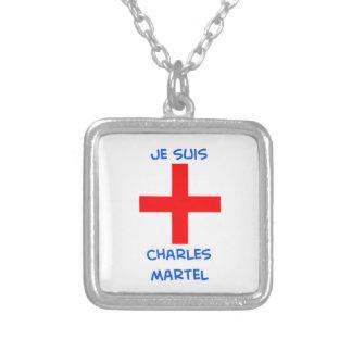 je suis charles martel crusader cross square pendant necklace