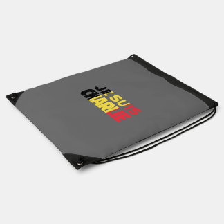 Je Suis Charlie-I am Charlie-Belgium Flag on Grey Drawstring Bag