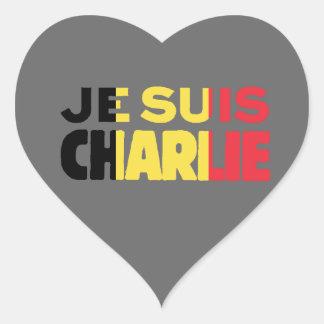 Je Suis Charlie-I am Charlie-Belgium Flag on Grey Heart Sticker