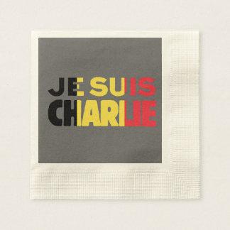Je Suis Charlie-I am Charlie-Belgium Flag on Grey Coined Cocktail Napkin