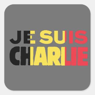 Je Suis Charlie-I am Charlie-Belgium Flag on Grey Square Sticker