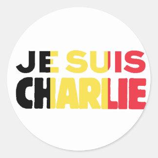 Je Suis Charlie-I am Charlie-Belgium Flag on White Classic Round Sticker