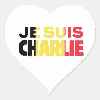 Je Suis Charlie-I am Charlie-Belgium Flag on White Heart Sticker