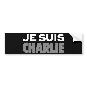 Beach Themed Je Suis Charlie - I am Charlie Black Bumper Sticker