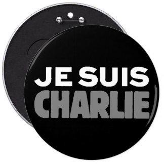 Je Suis Charlie - I am Charlie Black Pinback Buttons
