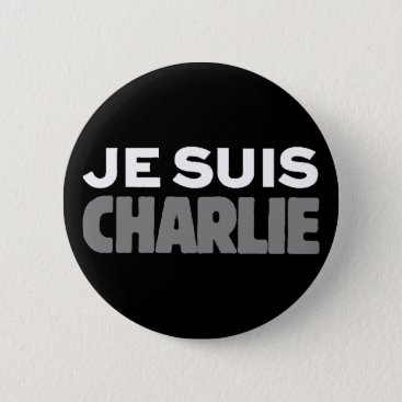 USA Themed Je Suis Charlie - I am Charlie Black Button