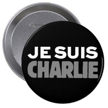 Beach Themed Je Suis Charlie - I am Charlie Black Button