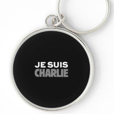 Beach Themed Je Suis Charlie - I am Charlie Black Keychain