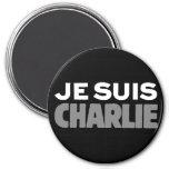 Je Suis Charlie - I am Charlie Black 3 Inch Round Magnet