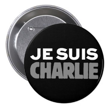 Beach Themed Je Suis Charlie - I am Charlie Black Pinback Button