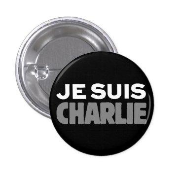 Beach Themed Je Suis Charlie - I am Charlie Black Pinback Button