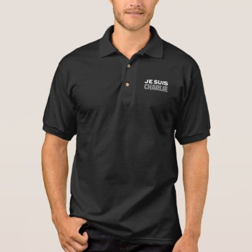 Beach Themed Je Suis Charlie - I am Charlie Black Polo Shirt