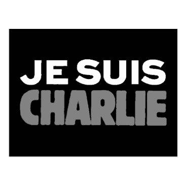 Beach Themed Je Suis Charlie - I am Charlie Black Postcard