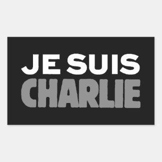 Je Suis Charlie - I am Charlie Black Rectangular Sticker