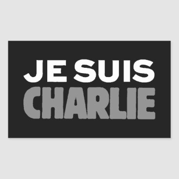 Beach Themed Je Suis Charlie - I am Charlie Black Rectangular Sticker