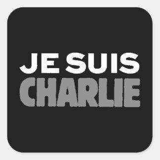 Je Suis Charlie - I am Charlie Black Square Sticker