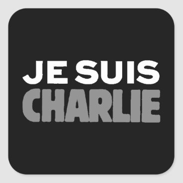 Beach Themed Je Suis Charlie - I am Charlie Black Square Sticker