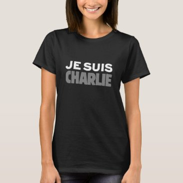 Beach Themed Je Suis Charlie - I am Charlie Black T-Shirt