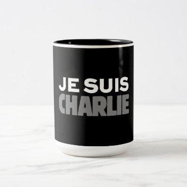 Beach Themed Je Suis Charlie - I am Charlie Black Two-Tone Coffee Mug