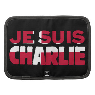 Je Suis Charlie-I Am Charlie-Denmark Flag on Black Folio Planners