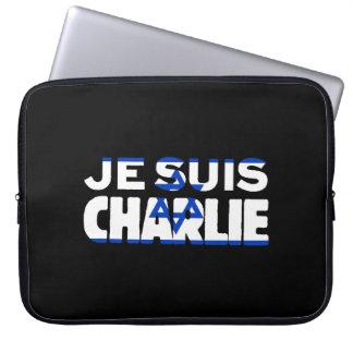 Je Suis Charlie-I Am Charlie-Israel Flag on Black Laptop Sleeves