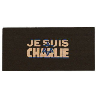 Je Suis Charlie-I Am Charlie-Israel Flag on Black Wood USB 2.0 Flash Drive