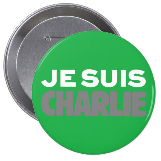 Je Suis Charlie-I Am Charlie-Magazine Cover Green Buttons