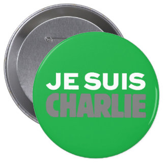 Je Suis Charlie-I Am Charlie-Magazine Cover Green Pinback Buttons