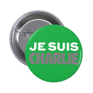 Je Suis Charlie-I Am Charlie-Magazine Cover Green Pinback Button