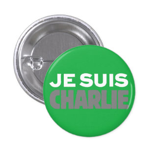 Je Suis Charlie-I Am Charlie-Magazine Cover Green Button