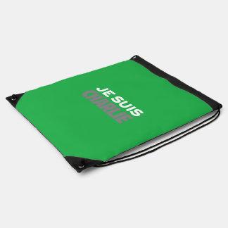 Je Suis Charlie-I Am Charlie-Magazine Cover Green Drawstring Bag