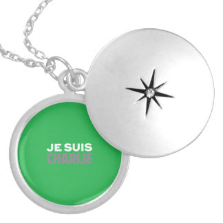 Je Suis Charlie-I Am Charlie-Magazine Cover Green Round Locket Necklace