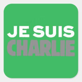 Je Suis Charlie-I Am Charlie-Magazine Cover Green Square Sticker