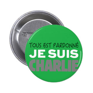 Je Suis Charlie -I am Charlie-Magazine Green Cover Pinback Button