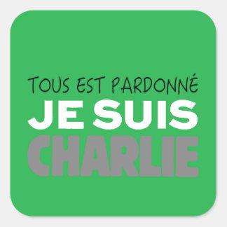 Je Suis Charlie -I am Charlie-Magazine Green Cover Square Sticker