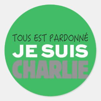 Je Suis Charlie -I am Charlie-Magazine Green Cover Round Sticker