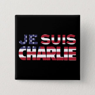 Je Suis Charlie -I am Charlie-Stars and Stripes US Button