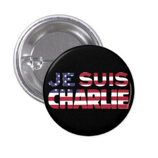 Je Suis Charlie -I am Charlie-Stars and Stripes US Pinback Button