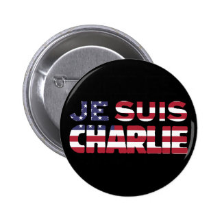 Je Suis Charlie -I am Charlie Stars & Stripes US Pin