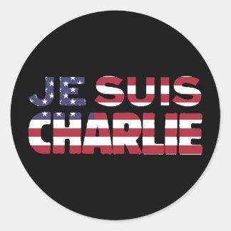 Je Suis Charlie -I am Charlie Stars & Stripes US Classic Round Sticker